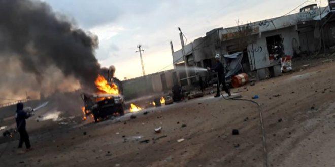 جريح مدني جراء انفجار عبوة ناسفة في بلدة قباسين بريف حلب الشرقي